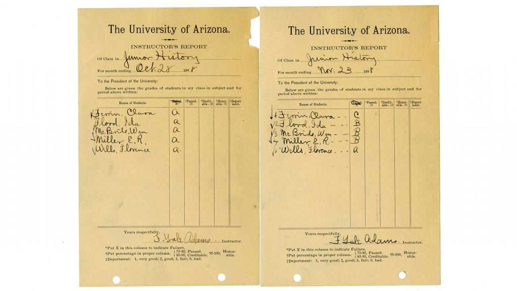 Instructor's Report for Junior History Class at the University of Arizona, October 28, 1898, November 23, 1898