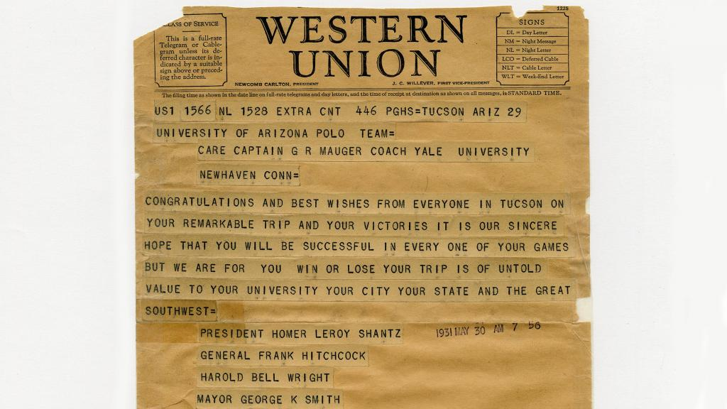 Telegram to the University of Arizona Polo Team from Tucson Citizens, May 30, 1931