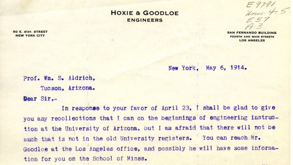 Letter Addressed to Professor William S. Aldrich, May 6, 1914