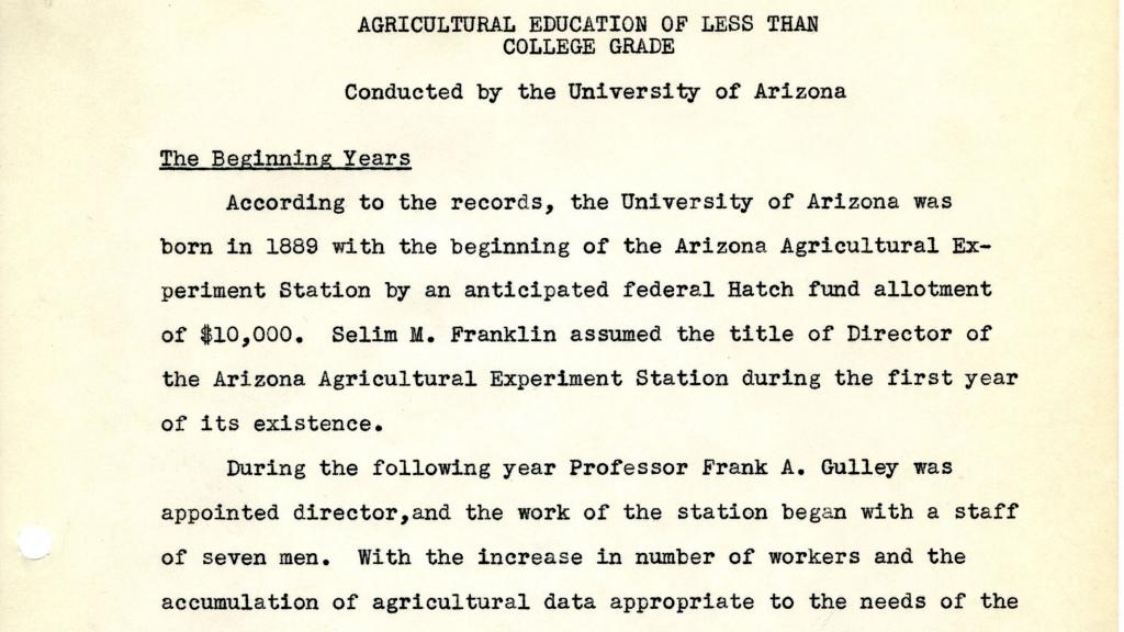 First Page of Agricultural Education of Less Than College Grad Conducted by the University of Arizona, 1940
