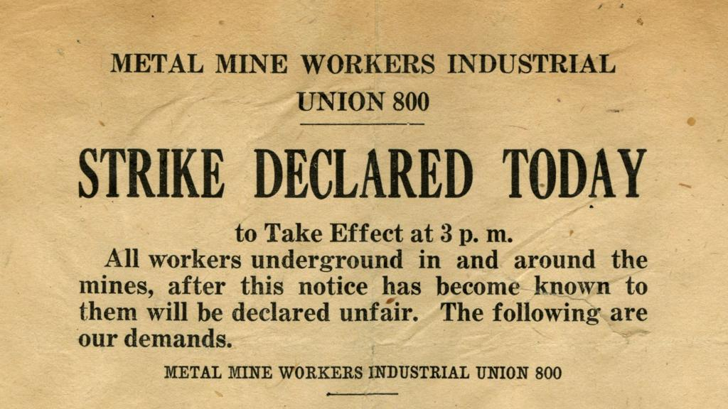 Metal Mine Workers Industrial Union 800 Declaration of Strike Newspaper Clipping, 1912