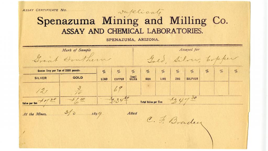 Assay Certificate for Spenazuma Mining and Milling Company Assay and Chemical Laboratories, 1899