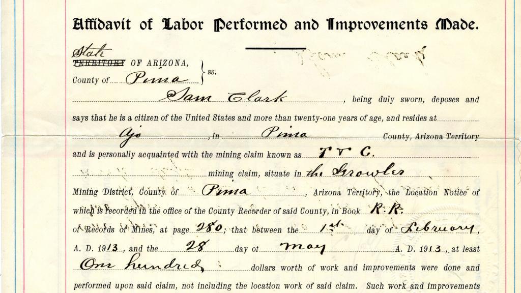 Mining Claim for T&C Mine Issued to Samuel Clark, June 6, 1913
