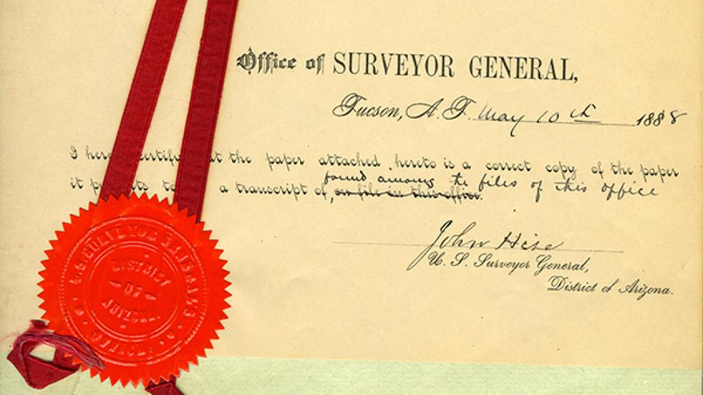 Certificate from the Office of Surveyor General