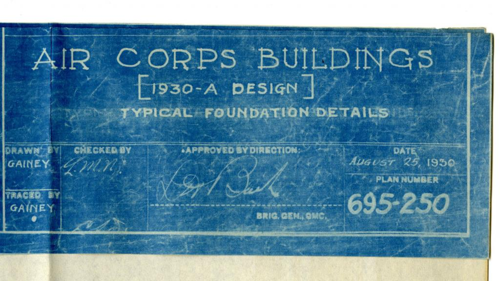 Construction records of the united states army special collections blueprint for air corps building august 25 1930 malvernweather Image collections