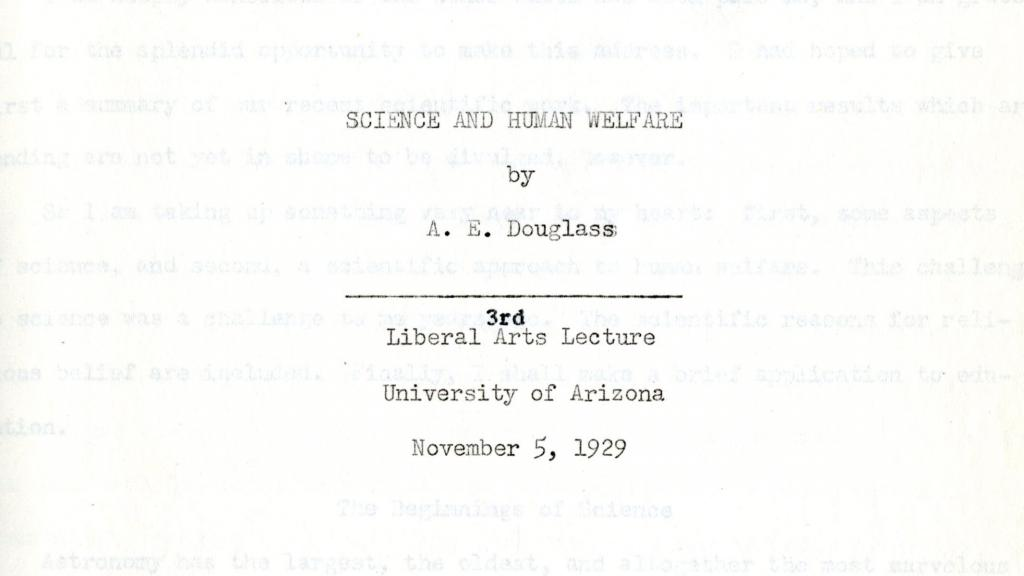 Cover Page of Science and Human Welfare by A.E. Douglass, November 5, 1929