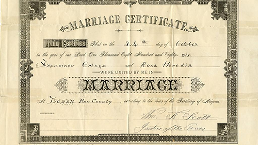 Marriage Certificate  Special Collections