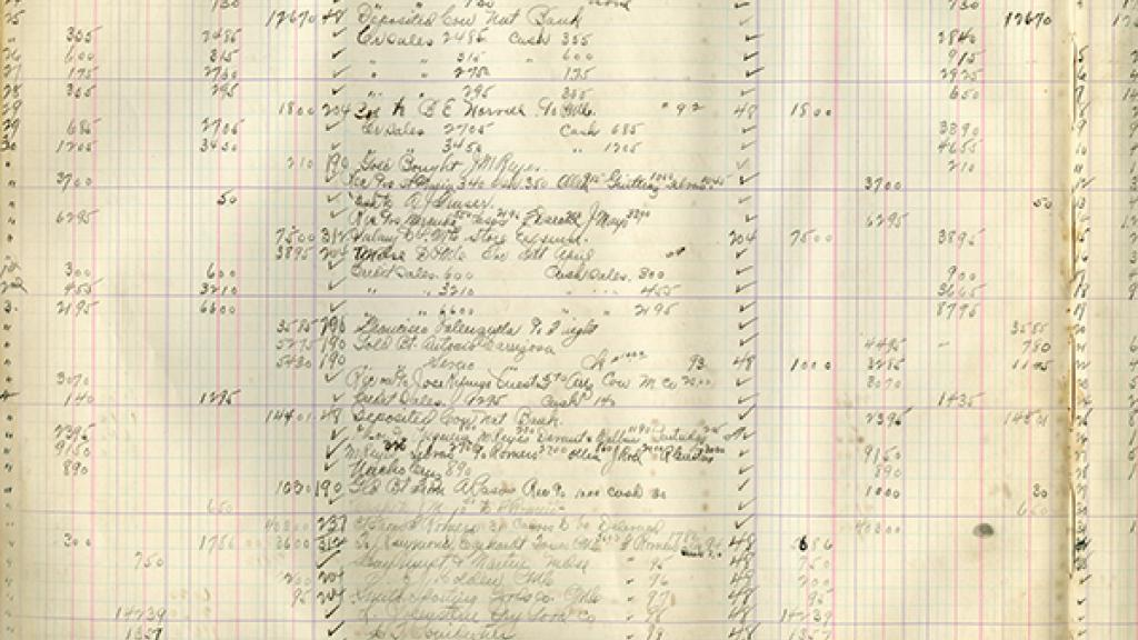 Ledger Page from Clarke's Cattle Ranching Venture