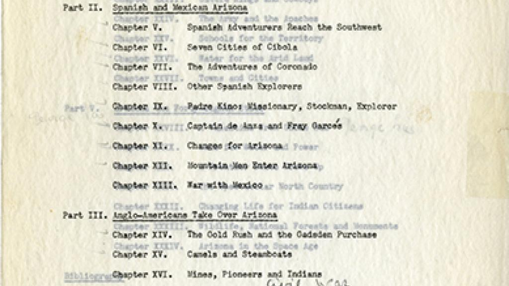 Chapter Page of March of Arizona History