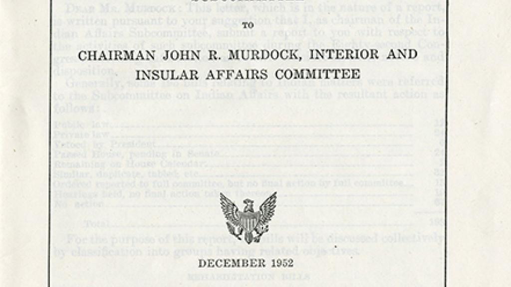 "Cover Page of ""Special Report on the Activities of the Subcommittee on Indian Affairs"""