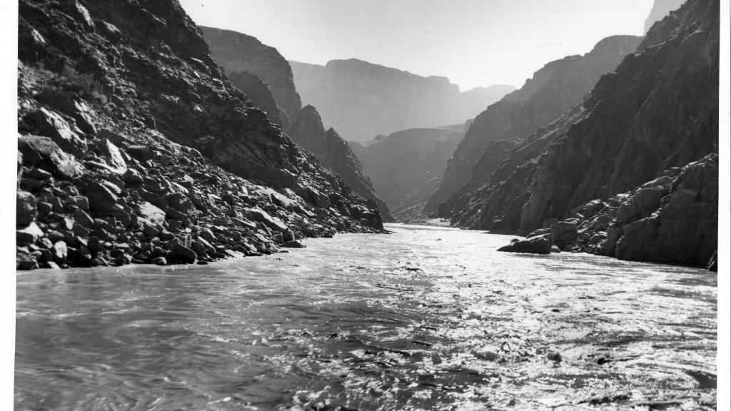 Photograph of Upstream View of Minor Rapids in the Colorado River, undated