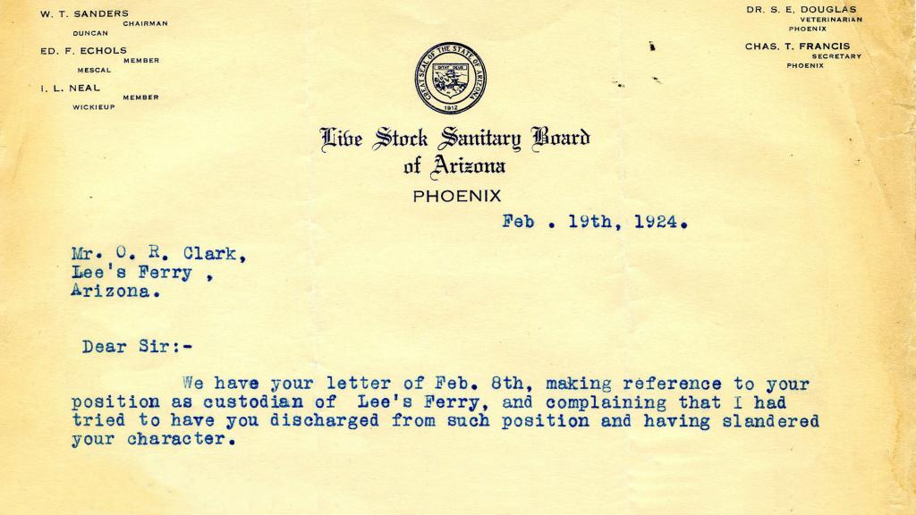 Correspondence to Mr. O.R. Clark from Charles L. Francis, Secretary of the Live Stock Sanitary Board of Arizona, February 19, 1924