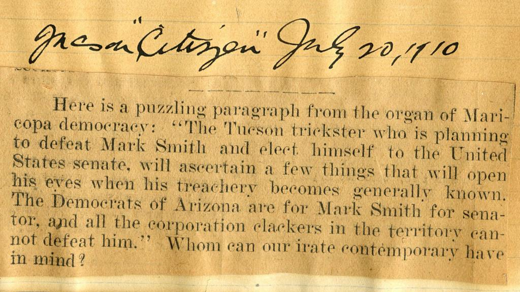 Excerpt from Page 1 of Constitutional Convention Scrapbook, July 20, 1910