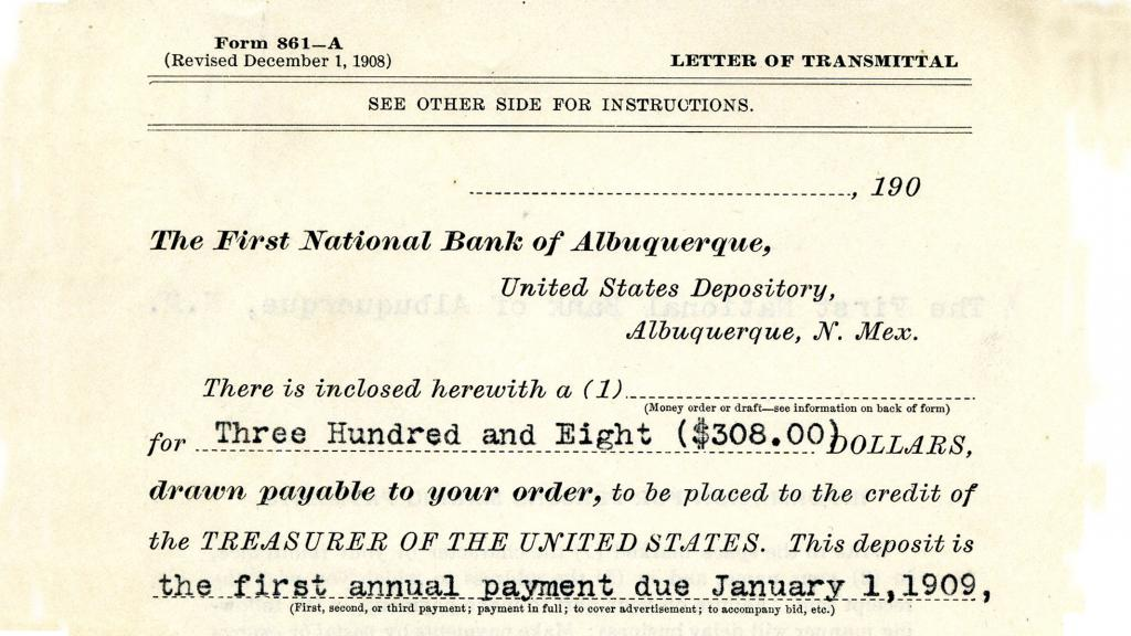 Excerpt from Letter of Transmittal, circa 1909
