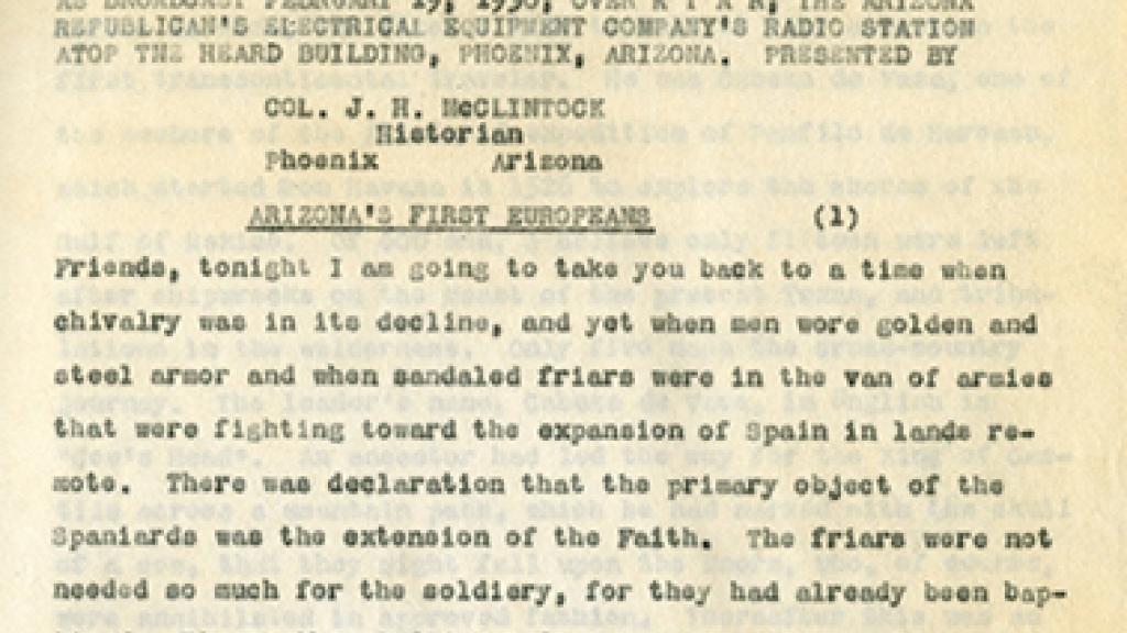 Transcript from James H. McClintock's Radio Talks