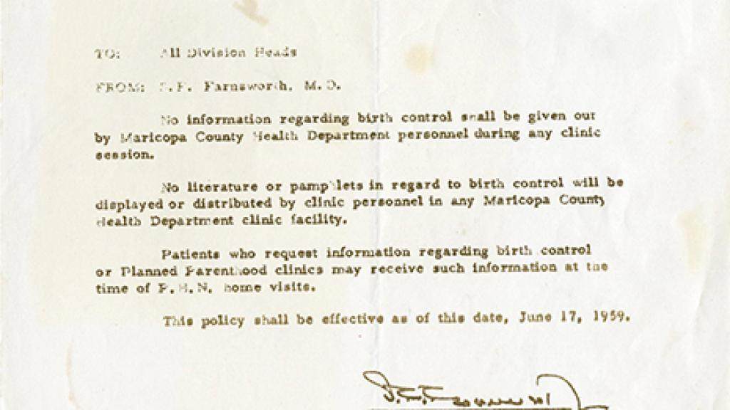 Letter To Employees Of Maricopa County Health Department Special Collections