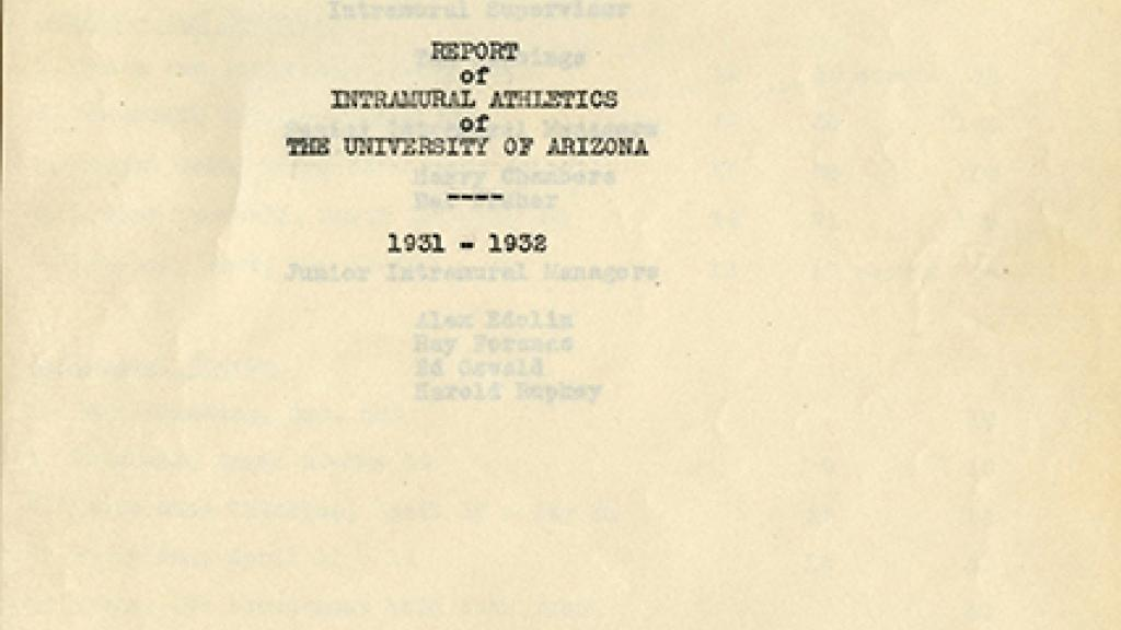 "Cover Page of ""Report of Intramural Athletics of the University of Arizona"""
