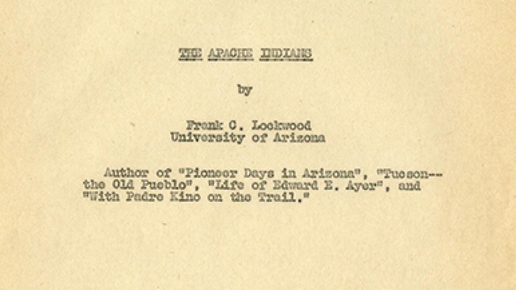 """Cover Page of """"The Apache Indians"""""""