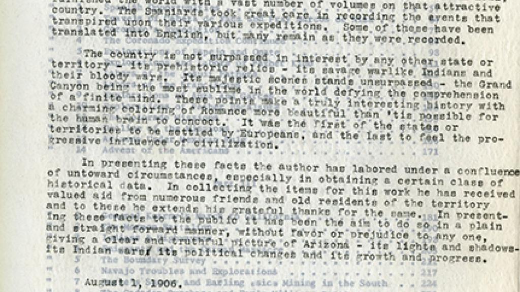 "Preface to ""The History of Arizona"""