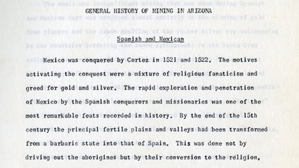 "Chapter 1 of ""The History of Mining in Arizona"""