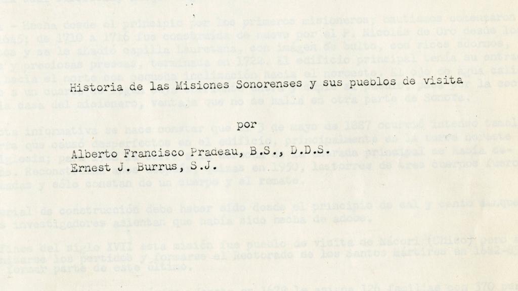 """Cover Page of """"Historia de las Misiones Sonorenses y sus Pueblos de Visita"""""""