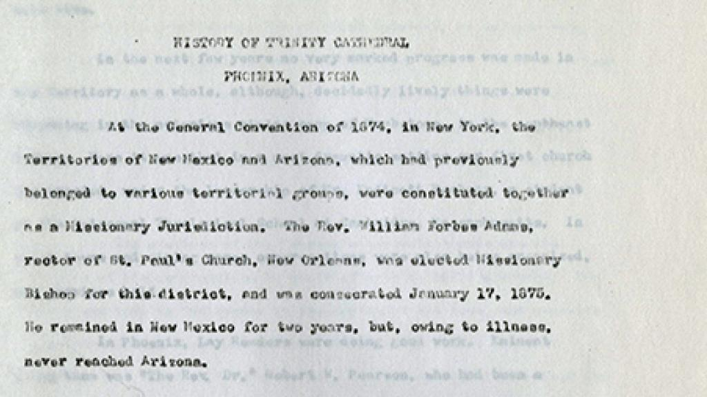 """First Page of """"History of Trinity Cathedral: Phoenix, Arizona"""""""