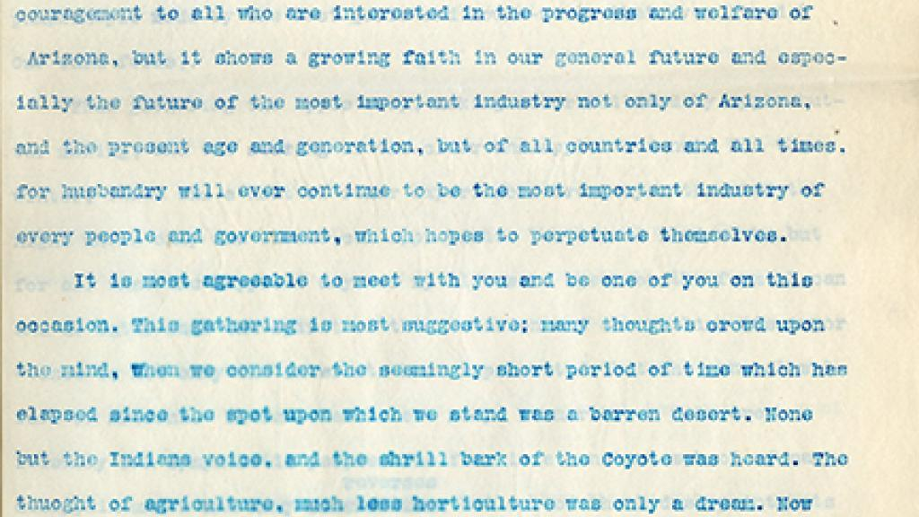 Transcript of L.C. Hughes' Address before the Farmers, Fruit and Stock Growers of Arizona Meeting