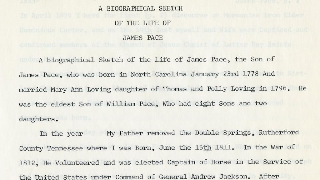 """First Page of """"A Biographical Sketch of the Life of James Pace"""""""