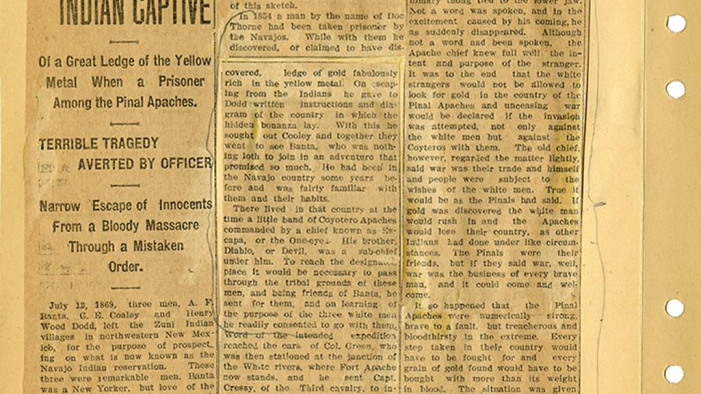 """A Clipping of """"A Lost Bonanza Story Told by Indian Captive"""""""