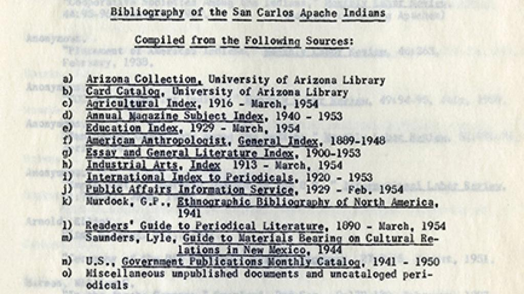 "Cover Page of ""Bibliography of the San Carlos Apache Indians"""
