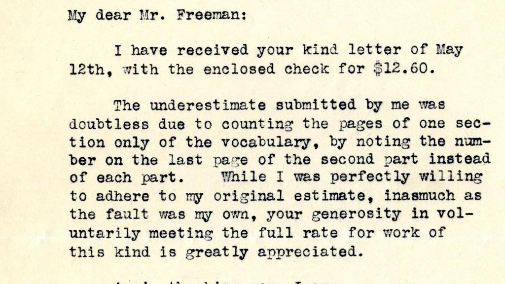 Letter to Merrill P. Freeman