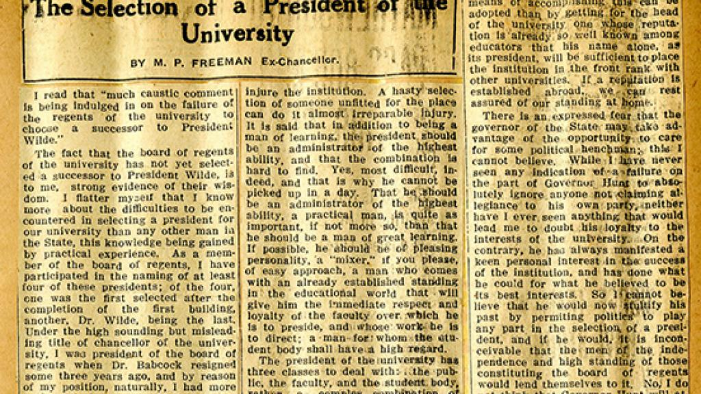 "Newspaper Clipping of ""The Selection of a President of the University"