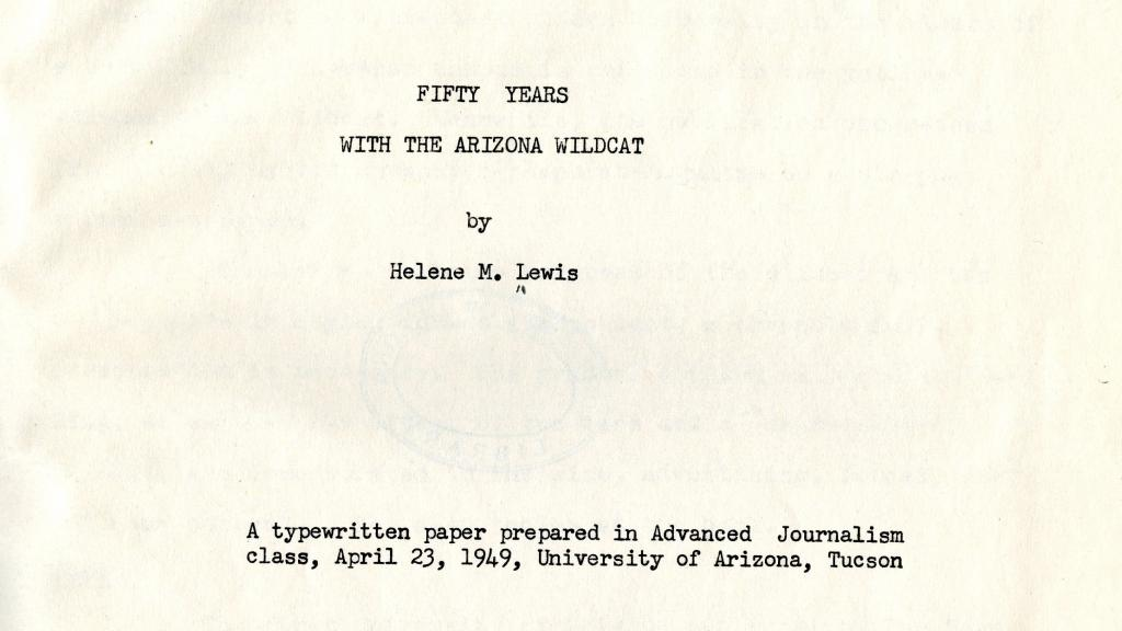 "Cover Page of ""Fifty Years with the Arizona Wildcat"""