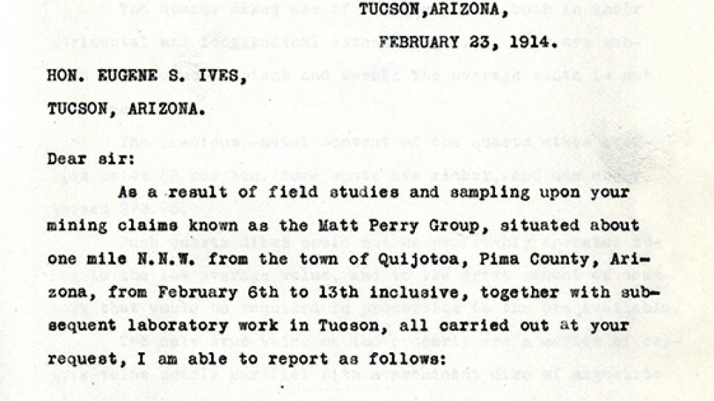 Report Sent to Eugene S. Ives