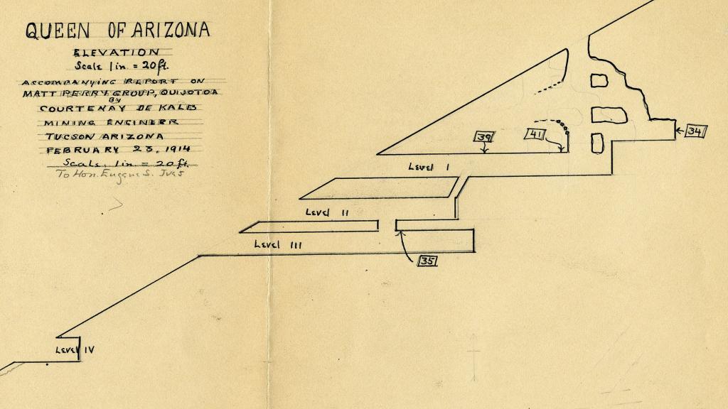 Plan for Queen of Arizona Mine, 1914