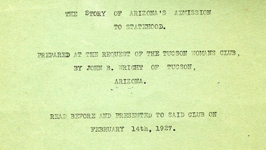 """The Cover Page of """"The Story of Arizona's Admission to Statehood."""""""