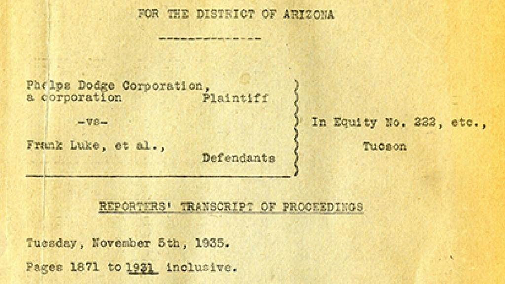 Cover Page of Court Proceedings
