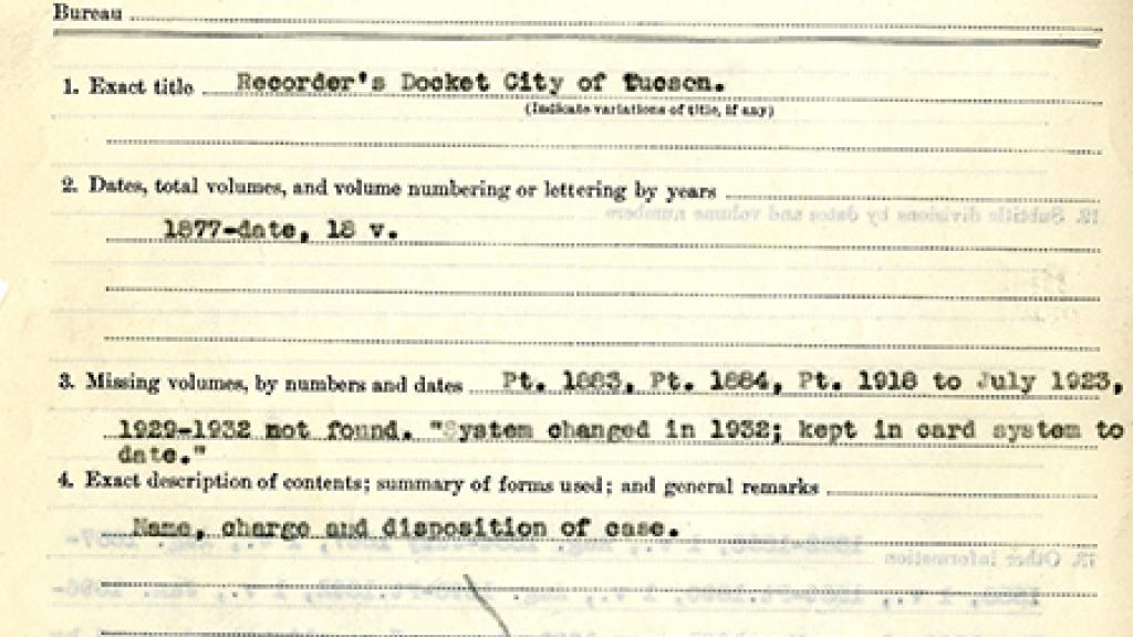 Inventory of Tucson City Archives