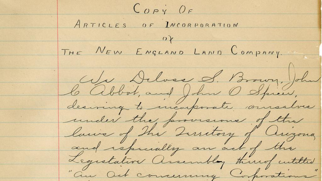 Minute book of the New England Land Company, 1890
