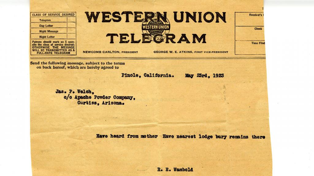 Telegram to Jas. P. Welch from R. E. Wambold, May 23, 1923