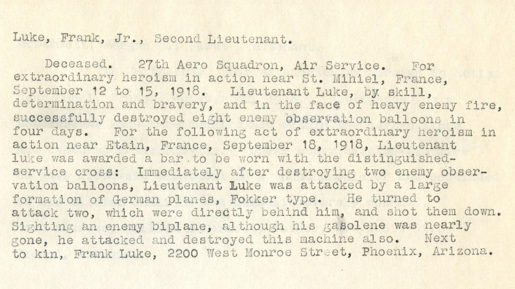 Record of Heroism for Frank Luke Jr. Second Lieutenant, 1918