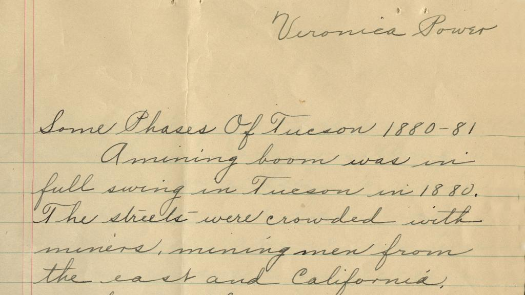 Excerpt of Page from Some Phases of Tucson 1880-1881, circa 1925