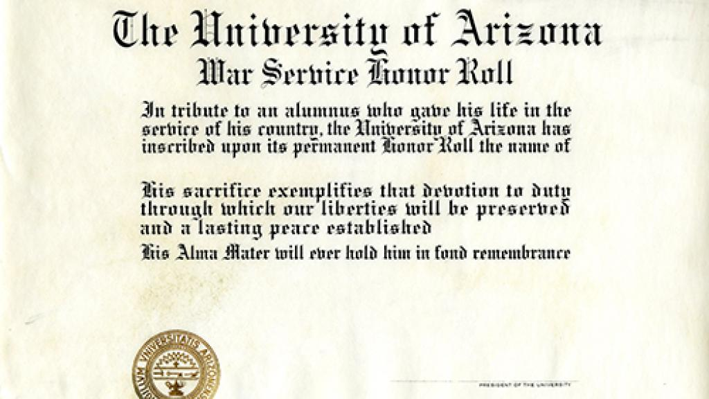 University of Arizona War Service Honor Roll Certificate