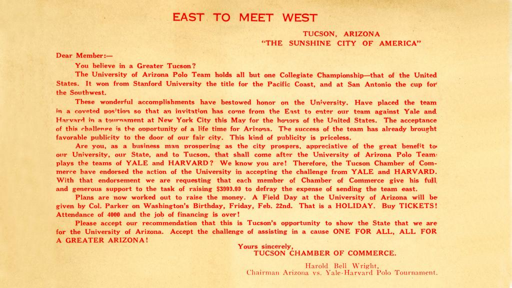 Letter Requesting Support for the UA Polo Team from Tucson Chamber of Commerce Members, circa 1923