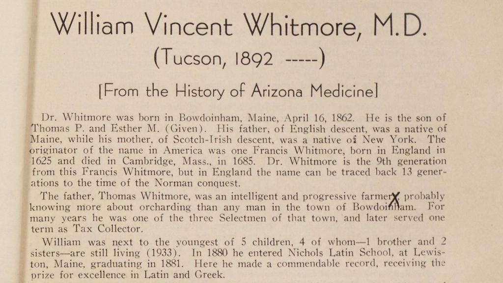 Excerpt from a Biography on William Vincent Whitmore, M.D., circa 1933