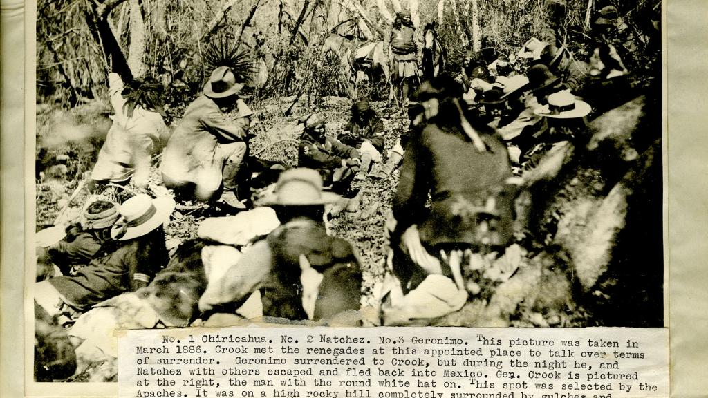 General Crook Discussing Terms of Surrender with Geronimo, March 1866