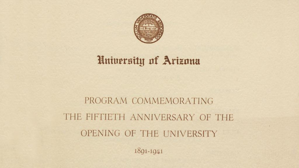 Cover of Program Commemorating the Fiftieth Anniversary of the Opening of the University, 1941
