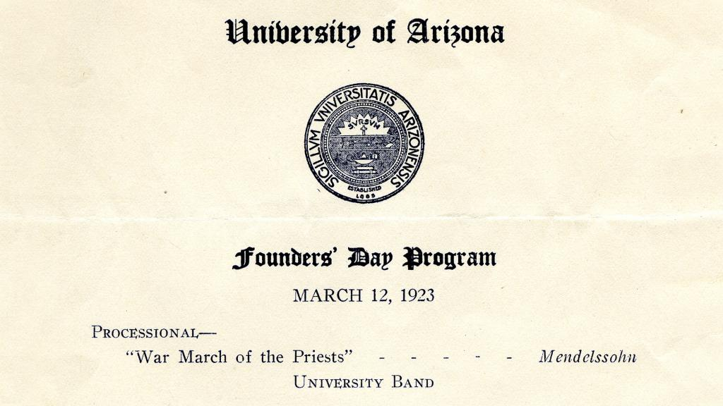 Excerpt from Title Page of University of Arizona Founders' Day Program, March 12, 1923