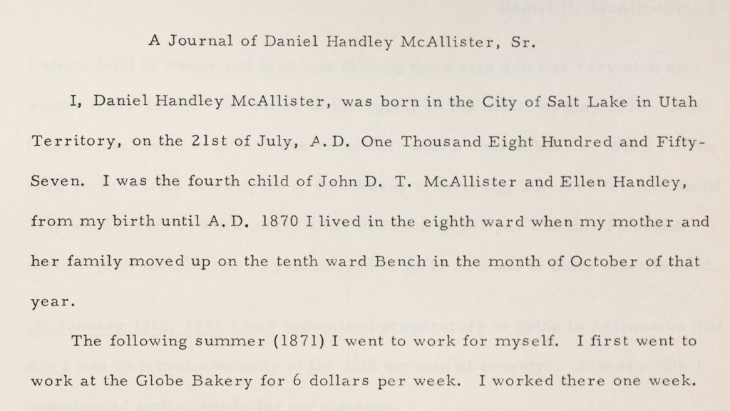 Excerpt from A Journal of Daniel Handley McAllister, Sr., 1876