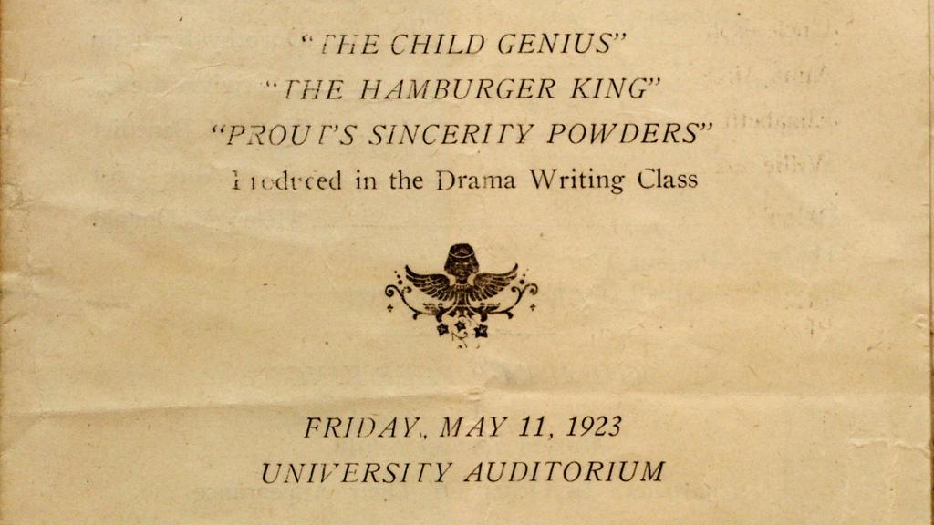 """""""The Child Genius"""" Program, 1923"""